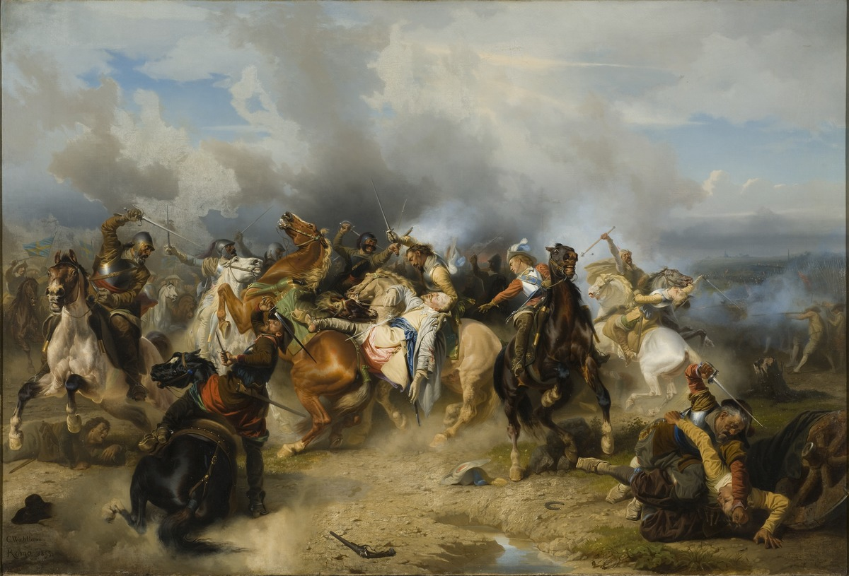 An oil painting of a battle.