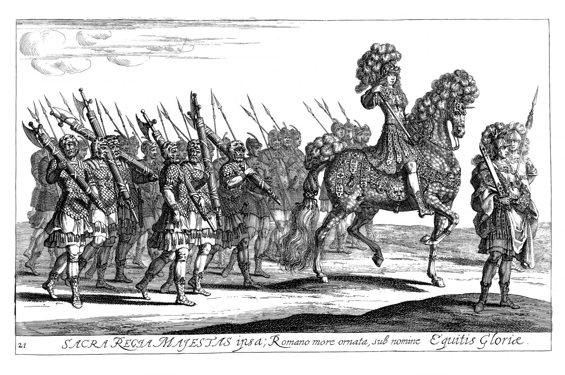 Gravyr av riddare till häst med en trupp soldater i följe.
