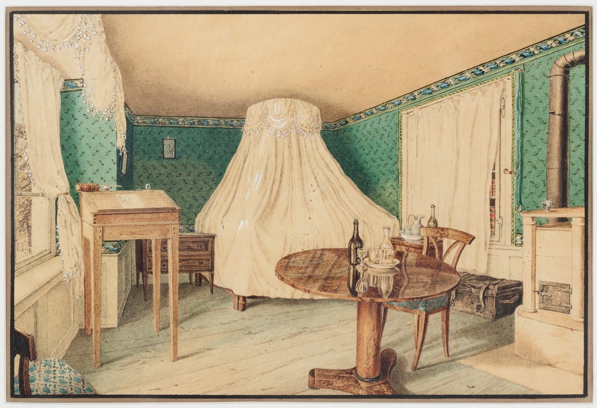 Watercolour of a small room with green wallpaper.
