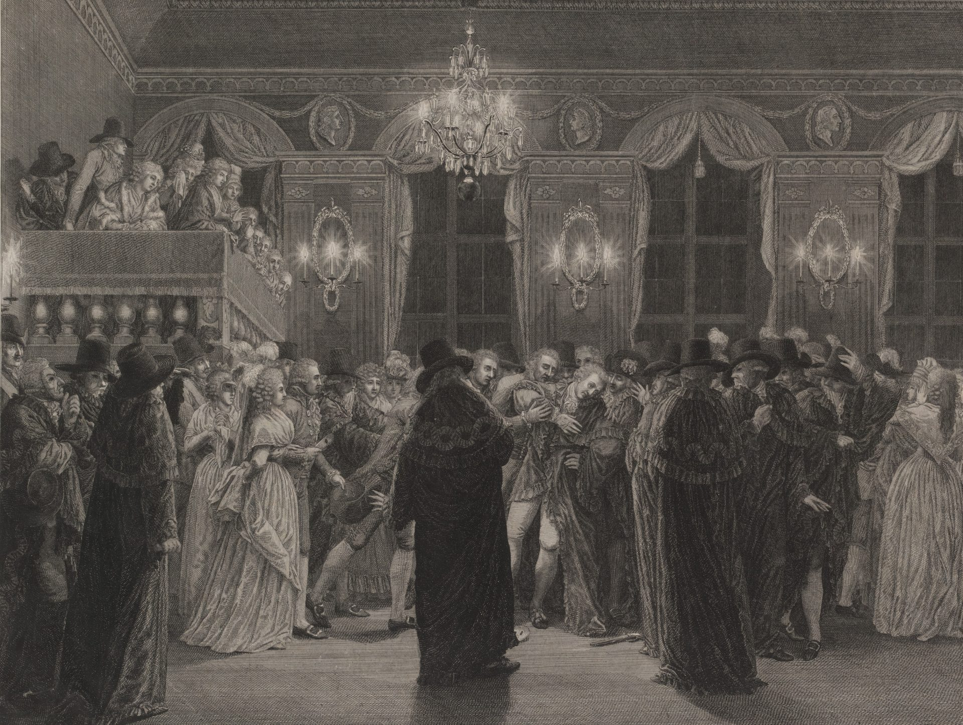 Illustration of the opera ball. A large room with several people. In the middle the king is shot.