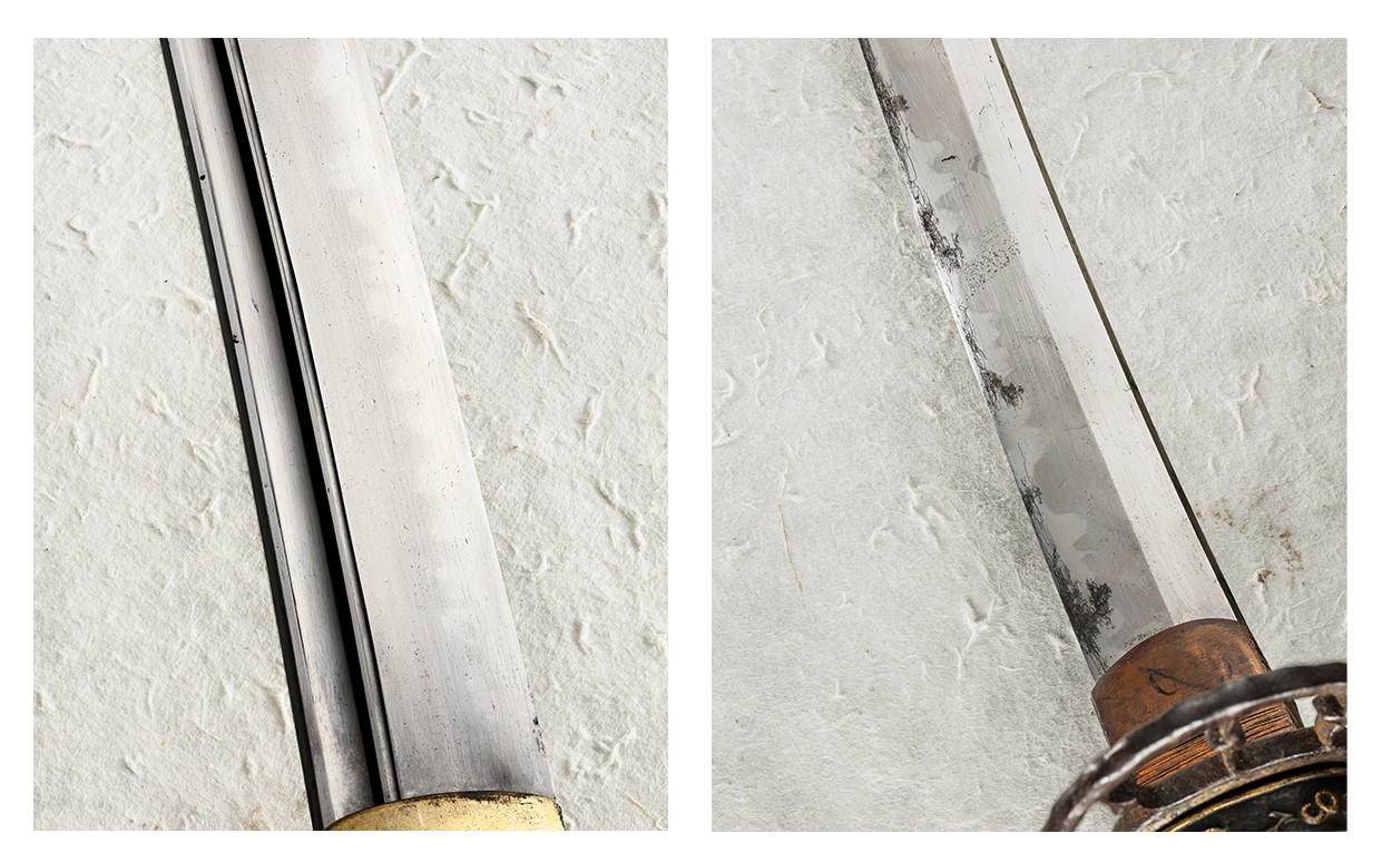 Two close-ups of sword edges.
