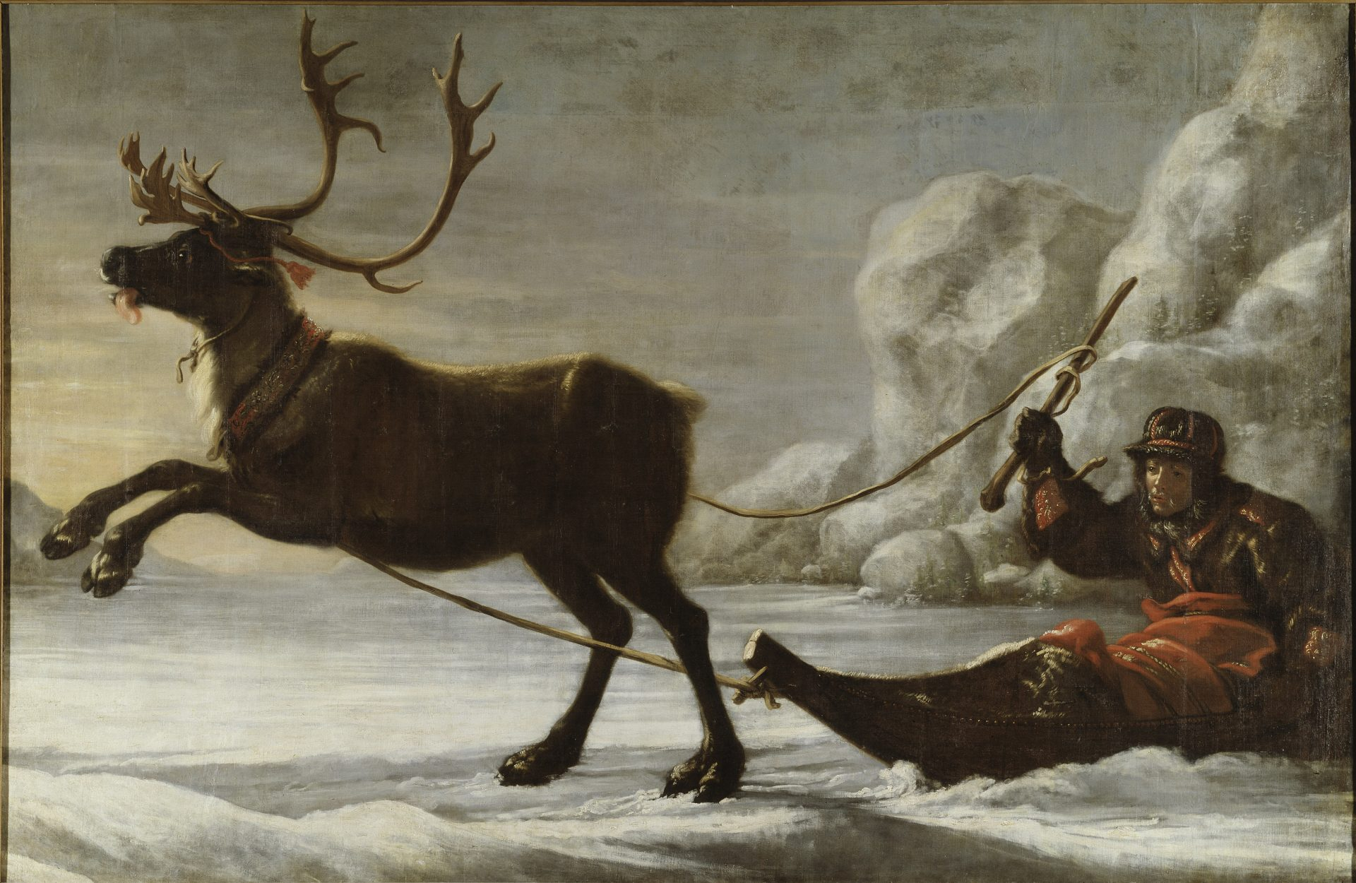 Oil painting of a sami in a sled driven by a reindeer,