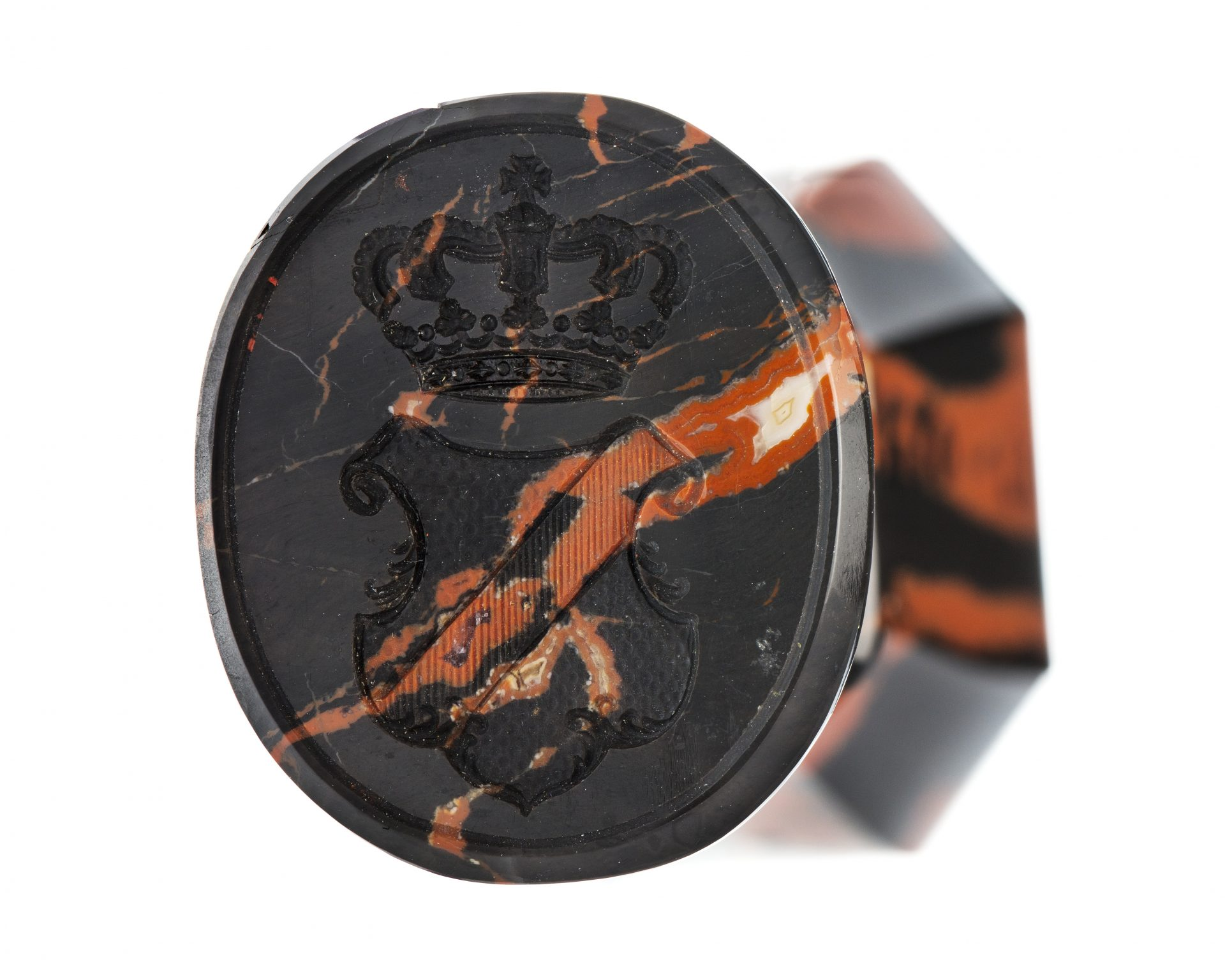 A seal of black and orange stone.