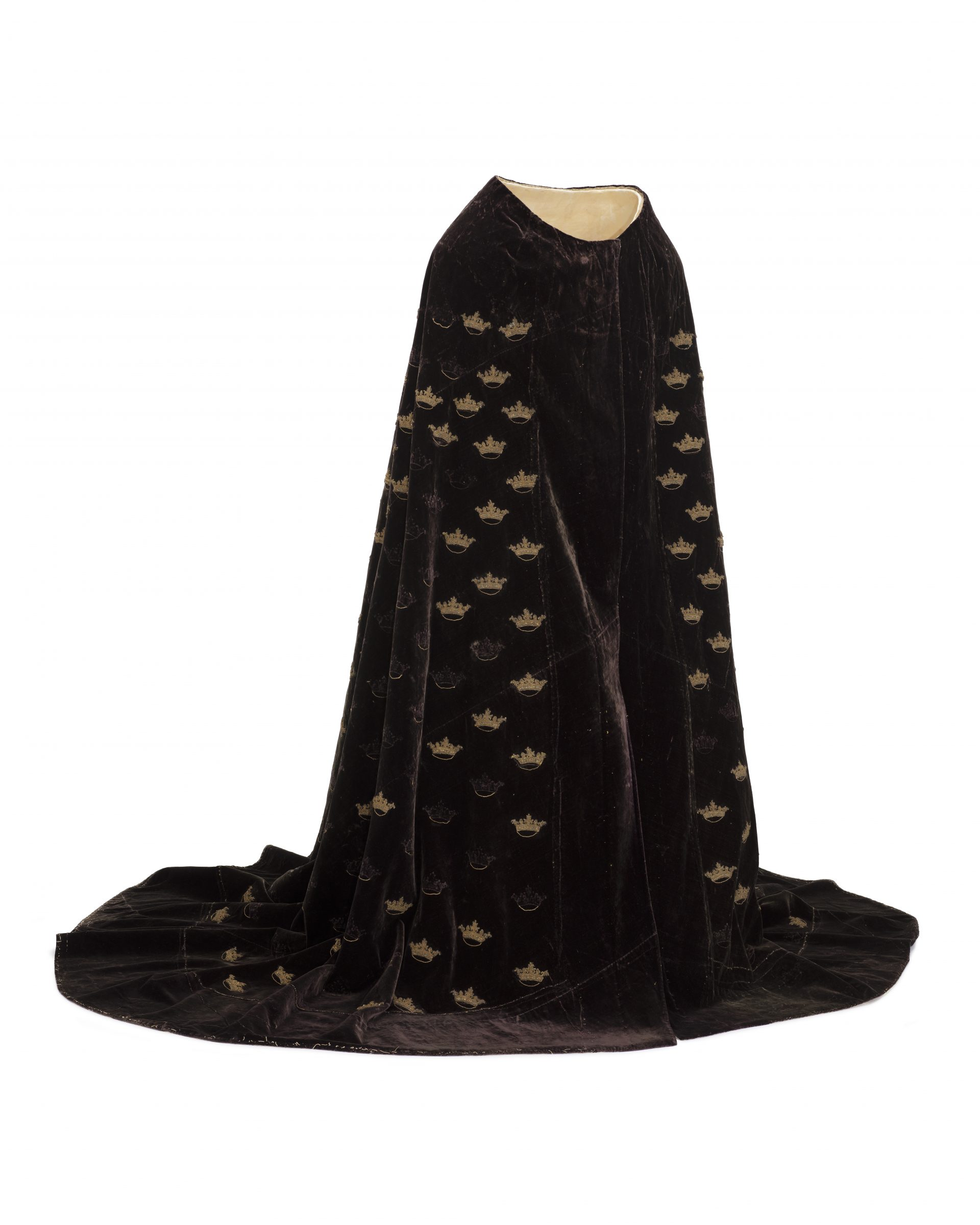 A dark cloak with embroidered crowns.