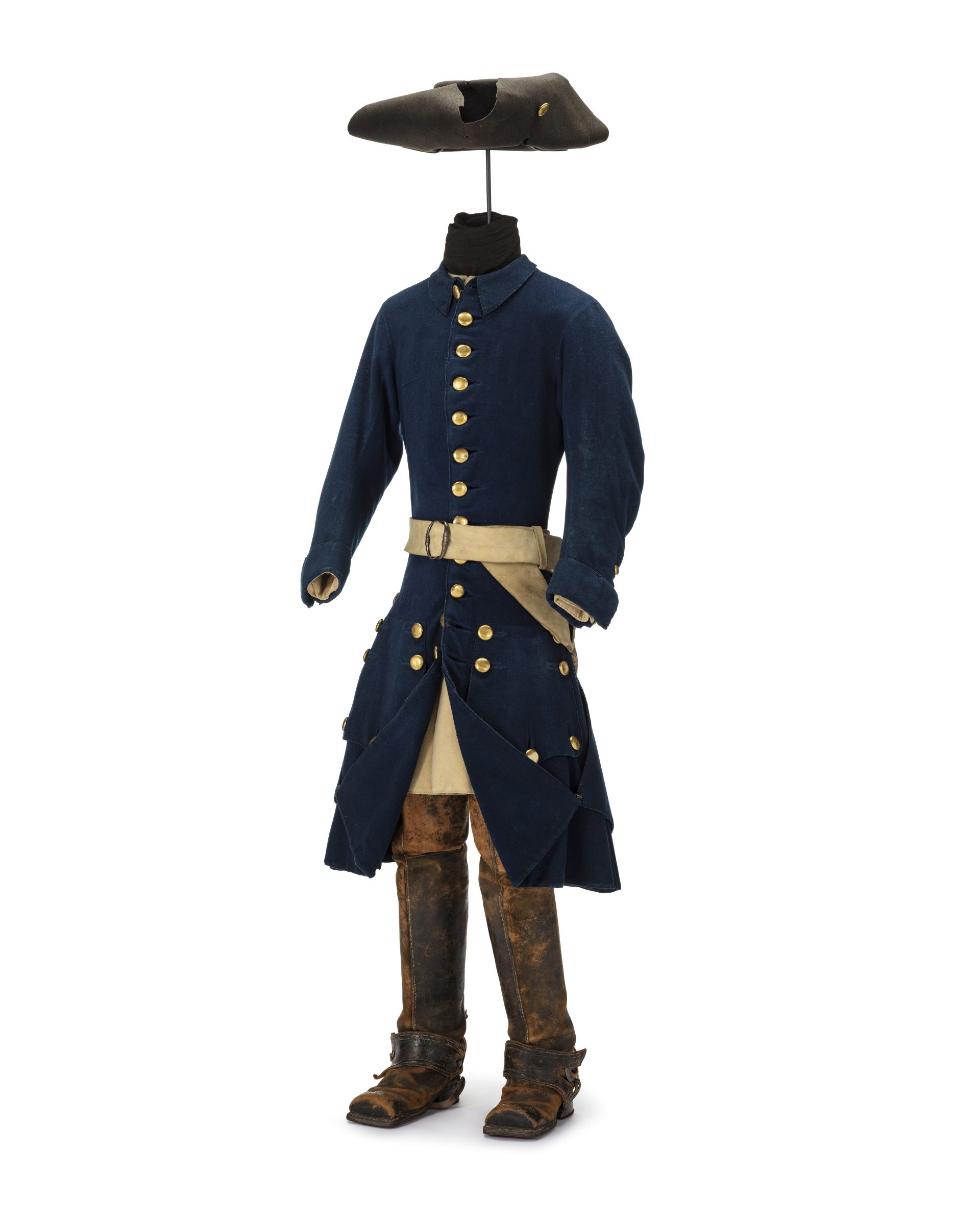 Blue uniform with boots and hat.