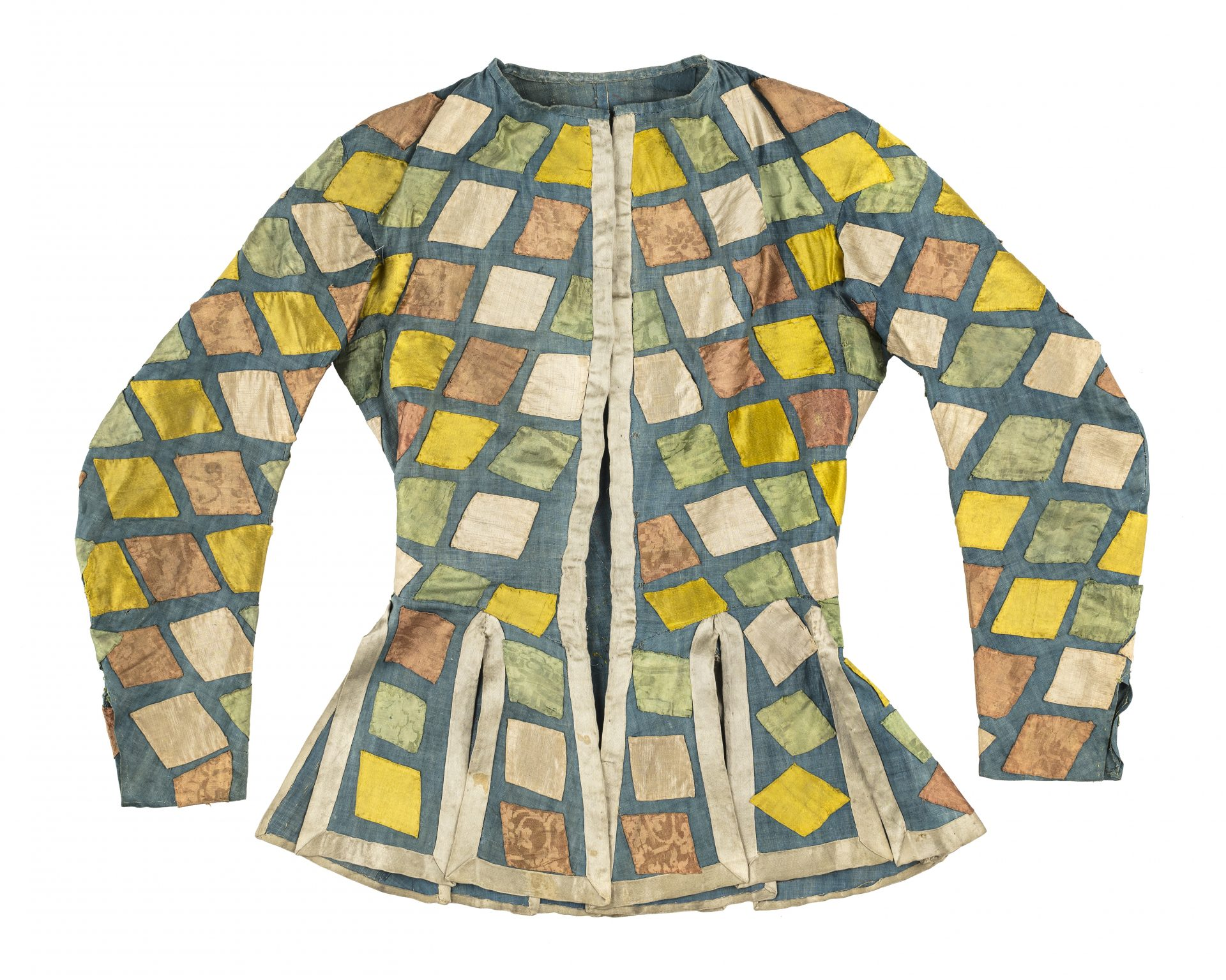 Jacket with checkered pattern in yellow and green.