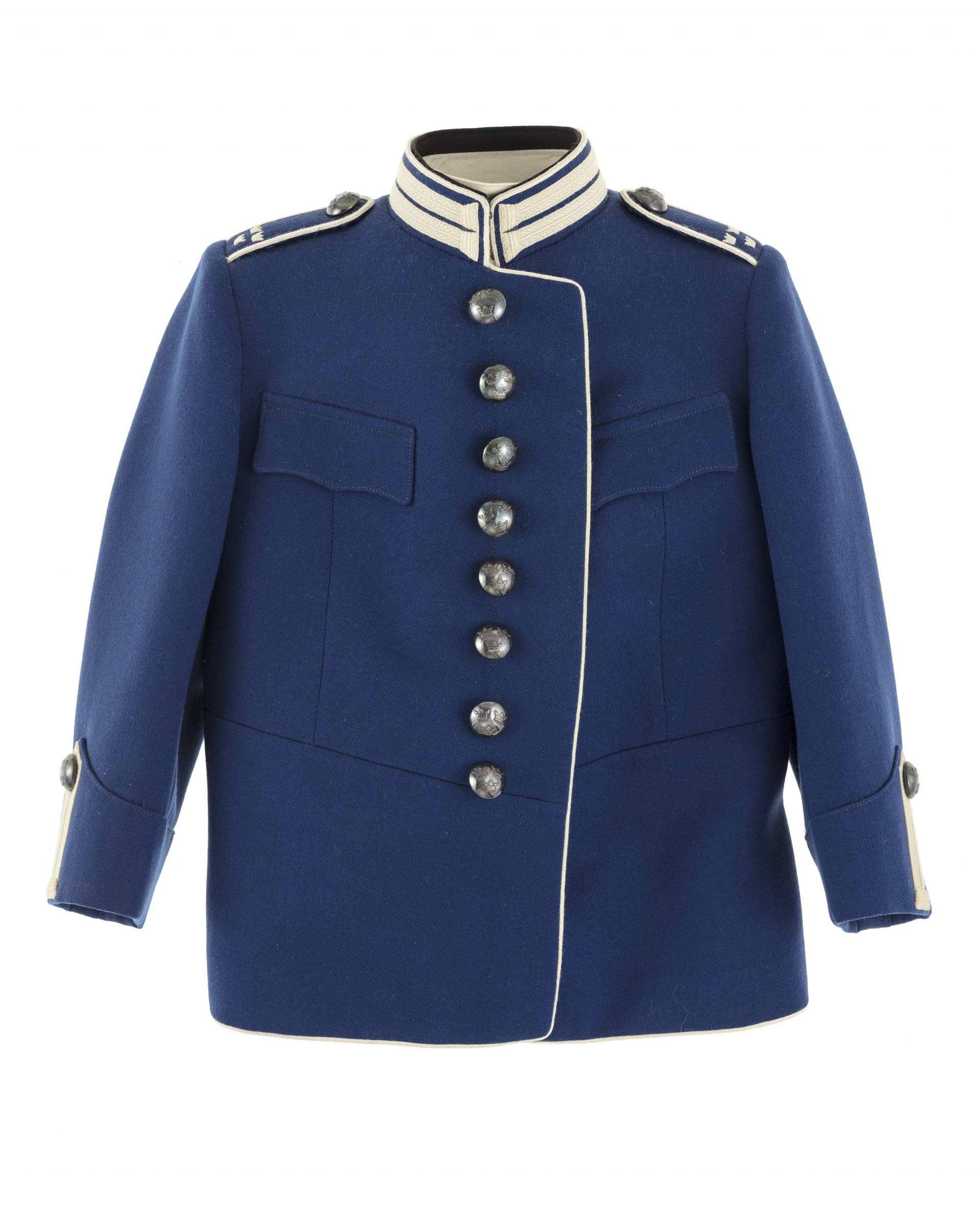 A blue uniform with white trimmings.