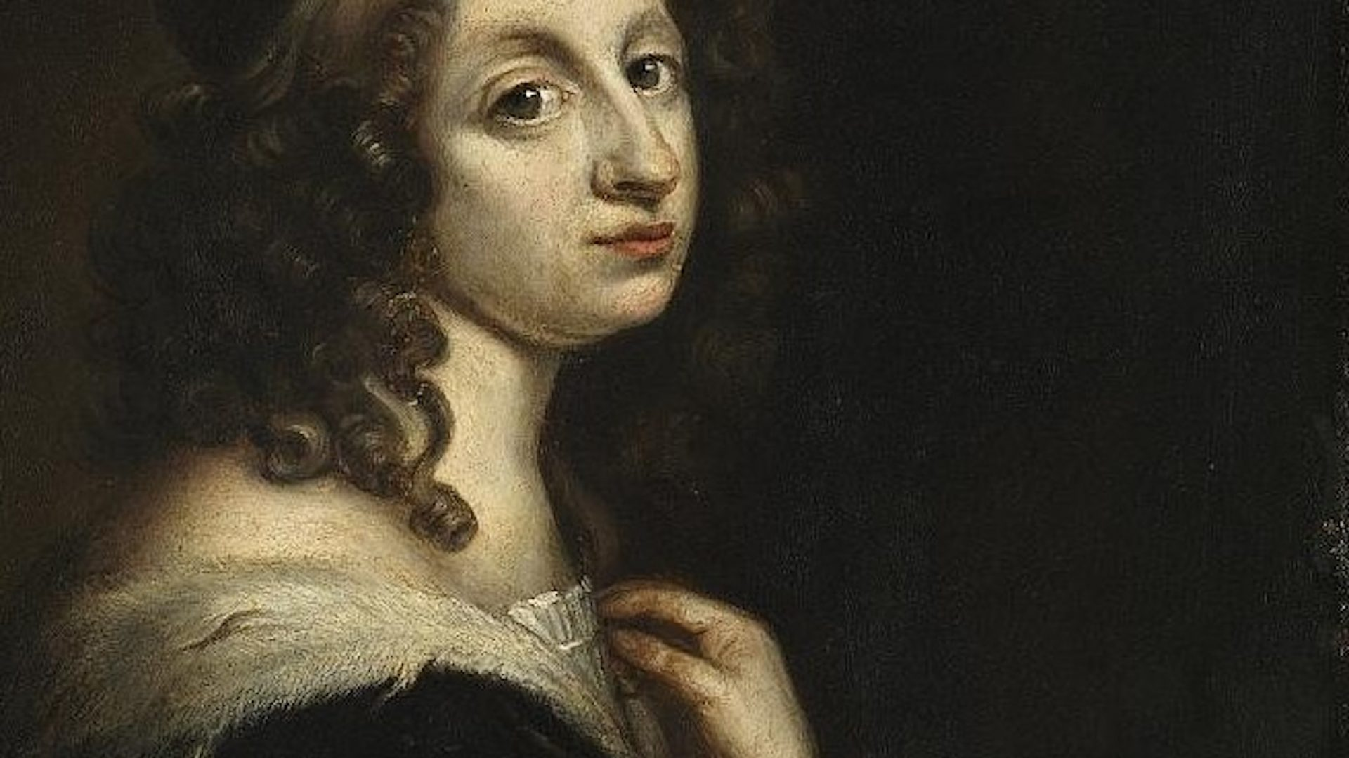 Porträtt av Drottning Kristina med långt brunt och lockigt hår