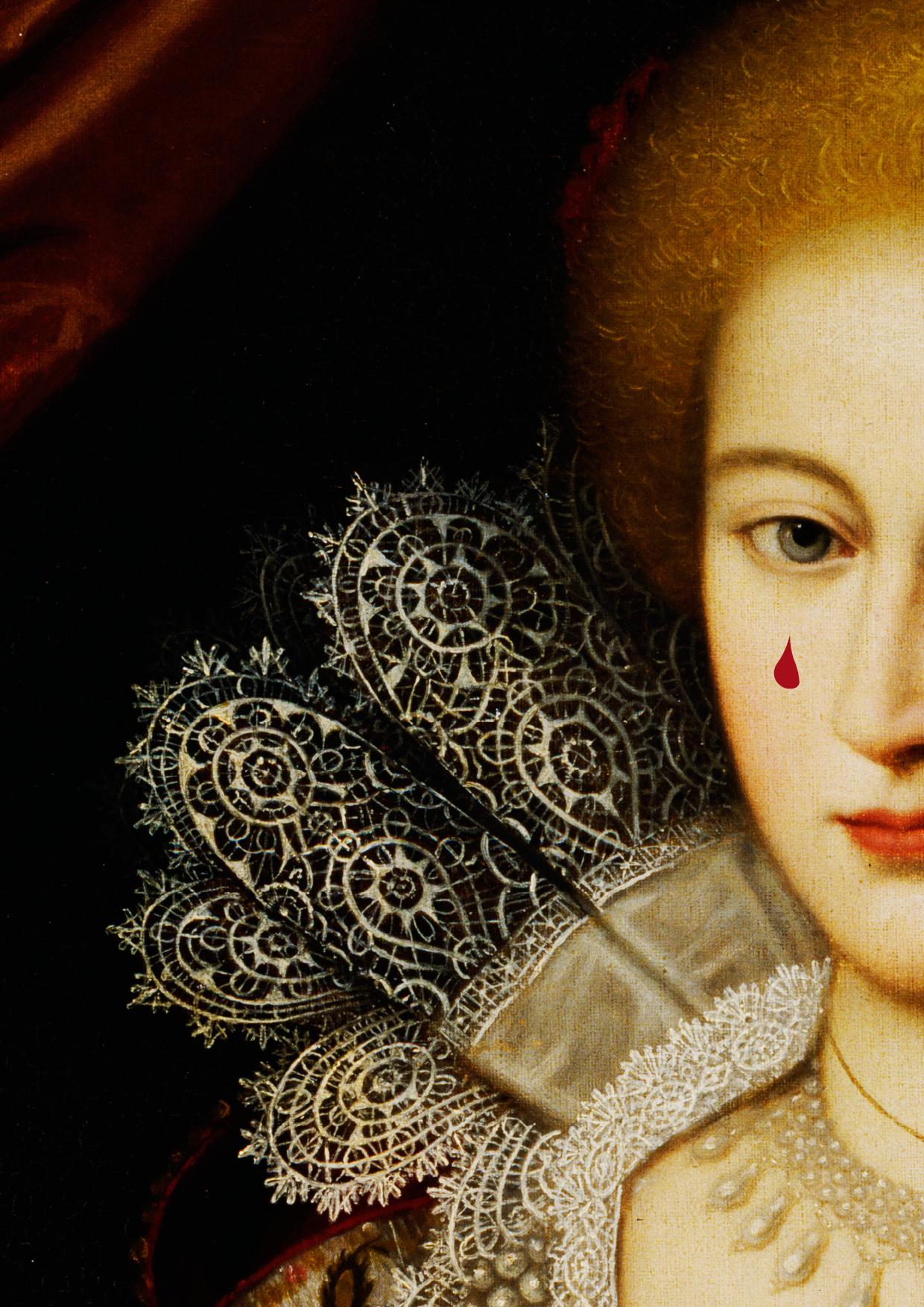 Porträtt av Maria Eleonora med en droppe blod på kiden